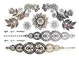 Alsino Einmal Tattoo Metallic Modeschmuck selbstklebend Einmaltattoos schwarz silber gold, Variante wählen:MT-68 Muster Blume
