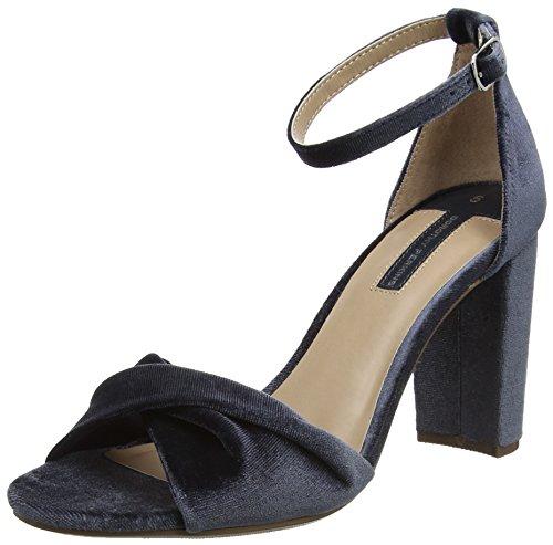 Dorothy Perkins Damen Grey Shani Velvet Sandals Knöchel-Riemchen Grau
