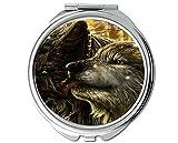 Miroir, petit miroir, miroir de poche léger Animal wolf, loupe 1 X 2X
