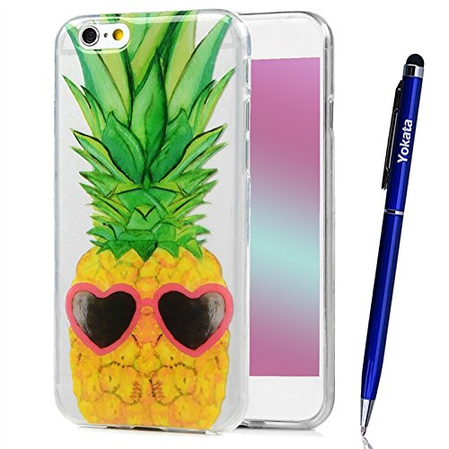 Coque iPhone 6 Plus / iPhone 6S Plus, Yokata Case Transparente Motif Design Housse Kawaii Cartoon Étui Clair Soft Doux TPU Silicone Flexible Backcover Ultra Mince Crystal Coque + 1*Stylet - Crâne Ananas