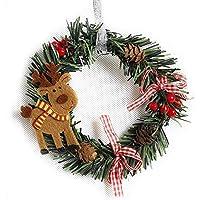 Feliz Navidad Corona Puerta de Entrada Guirnalda Sala de Navidad Decoración de Pared Rojo Flor de Pascua