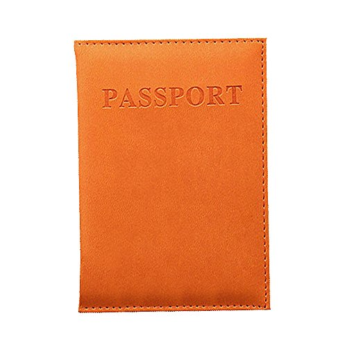 Colorful Reisepass Tasche Schutzhülle Reisepasshülle Familien Reise Pu Leder Pass Hülle Passport Etui Ausweistasche Dokumente Organizer Damen Herren (Orange) -