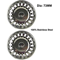 2 PCS Stainless Steel Sink Strainers, Bath Sink Shower Drain Basin Tray Filter Strainer Waste Plug Cover Trap Cap Hair Stopper (73MM)