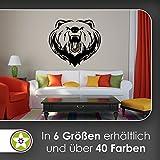 KIWISTAR Braunbär - Bär Wildniss Aggresiv Zähne Wandtattoo in 6 Größen - Wandaufkleber Wall Sticker