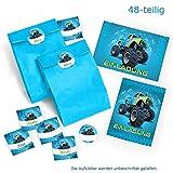12 Einladungskarten zum Kindergeburtstag Monstertruck blau incl. 12 Umschläge und 12 Party-Tüten mit 12 Aufkleber / Geburtstag / Monster-Truck / Auto / Einladungen zum Geburtstag für Jungen (12 Karten + 12 Umschläge + 12 Party-Tüten + 12 Aufkleber)