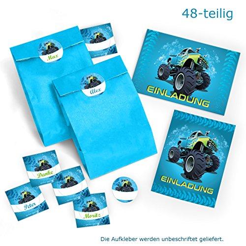 12 Einladungskarten zum Kindergeburtstag Monstertruck blau incl. 12 Umschläge und 12 Party-Tüten mit 12 Aufkleber / Geburtstag / Monster-Truck / Auto / Einladungen zum Geburtstag für Jungen (12 Karten + 12 Umschläge + 12 Party-Tüten + 12 Aufkleber) (Monster-truck-aufkleber Für Autos)