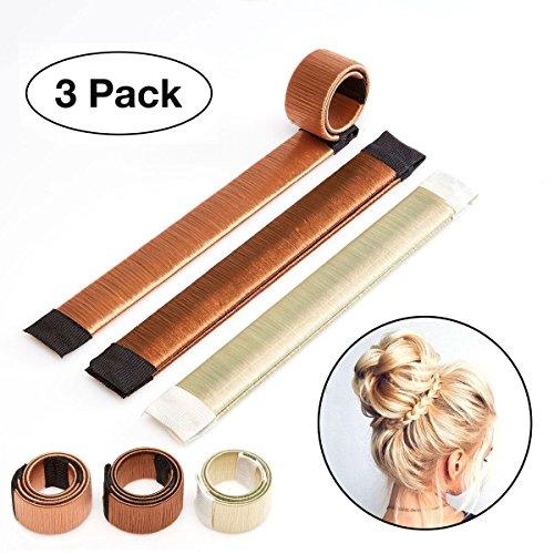 Original Dutt Maker Hilfe für lange und kurze Haare geeignet - 3x Set (Blond, Braun und Hellbraun) - Platin-geld-clip