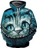 Unisex 3D Digital Druck Bunte Kapuzenpullover Hoodie Langarm Top Herren Cartoon Weihnachten Sweatshirt Pullover (L/XL)
