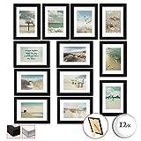 bomoe Set di 12 Cornici per foto Ocean - Cornici foto collage - collage portafoto - Nero - Cornici foto multiple da Parete - cornici in legno - portafoto e portaimmagini 12x 13x18cm