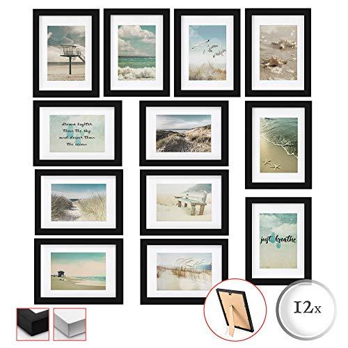 BOMOE Set de 12 Cadres Photos Emotion lot pour décoration Murale pour Chambre Salon Bureau Maison - Noir - 12x 13x18cm