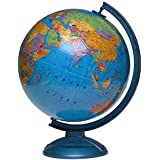 Awals Educational Rotating Approx. 8 Inches. Desk & Table Top Political World Globe (Medium Blue)
