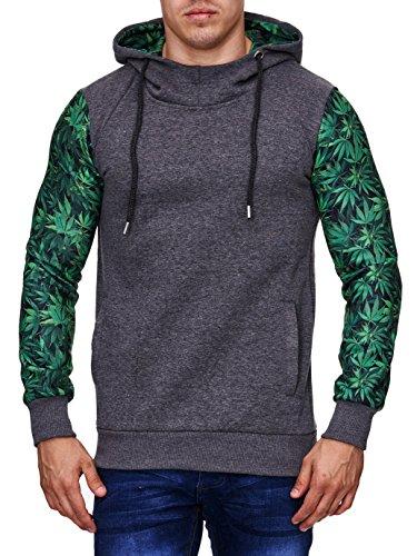 Cabin Collection Kapuzen Pullover Herren Sweater Weed Cannabis Hanfblatt,Grš§e XXL, dunkelgrau-grŸn