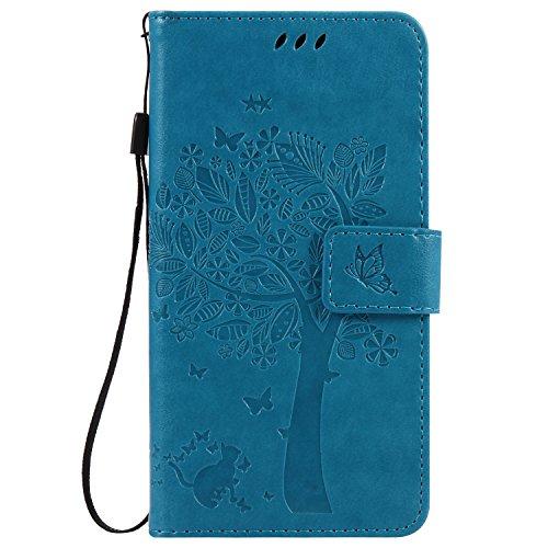 Cozy Hut Sony Xperia X Blau Hülle, Premium Leder Flip Case im Bookstyle Folio Cover Kartenfächer Magnetverschluss und Standfunktion Leder Schale Etui für Sony Xperia X - blau