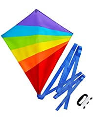 Diamond Kite for Children and Adults - Bright Rainbow Colours - Great Outdoor Toy for Beginners - Very Easy to Fly Kite