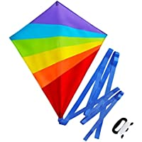 Sun Kites Diamond Kite for Kids Adults Boys & Girls - Bright Rainbow Colours - Great for Beginners & Children - Very Easy to Fly