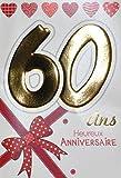 Age MV 69–2038scheda Compleanno 60Anni Donna Motivo fiocco nastro regalo cuori