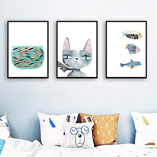 (ZhenFa Nordic minimalistisch Wohnzimmer-Dekoration Malerei Katze und Fisch Hotel Home Dekoration hängen Leinwand Frame-freie Malerei)
