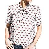 Oyedens Donne Maglietta Allentata Camicetta Da Donna Camicia T Shirt Maglia Sportiva Camicetta Tops Donne Alla Moda Labbro Rosso (XL, Bianca)