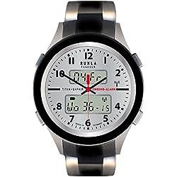 RUHLA Herren-Armbanduhr Elegant Chronograph Titan-Armbandband schwarz silber Funkuhr-Uhr Ziffernblatt silber URU27017CM