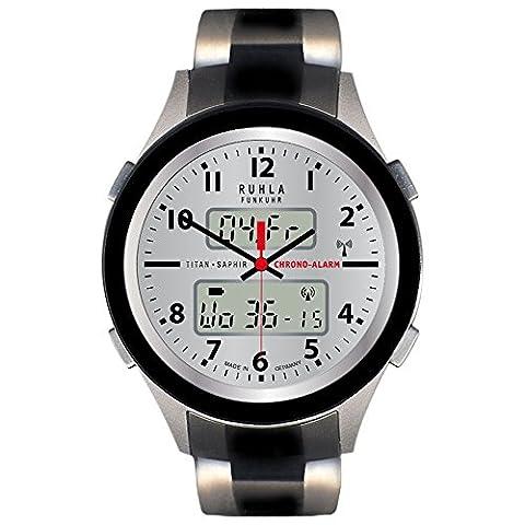RUHLA Herren-Armbanduhr Elegant Chronograph Titan-Armbandband schwarz silber Funkuhr-Uhr Ziffernblatt silber