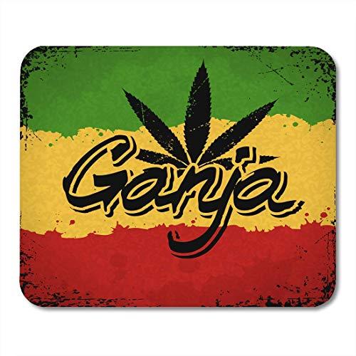 Virsa Mauspads Green Rasta Ganja Schriftzug Marihuana Leaf und auf Rastafarian Red Reggae Flag Mauspad für Notebooks, Desktop-Computer Zubehör Mini Office Supplies Mauspads,Gummimatte 11,8