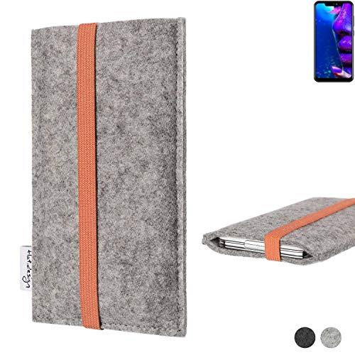 flat.design Handy Hülle Coimbra für Allview Soul X5 Pro - Schutz Case Tasche Filz Made in Germany hellgrau orange