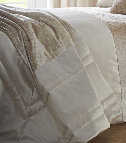 Boulevard Velvet Strip Quilt Duvet Cover and 2 Pillowcase Bedding Bed Set, Mink, Double