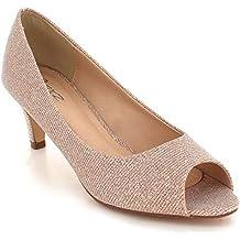 8936b65f29 Mujer Negras Reluciente Peeptoe Noche Boda Fiesta Paseo Nupcial Medio Tacón  Ponerse Sandalias Zapatos tamaño