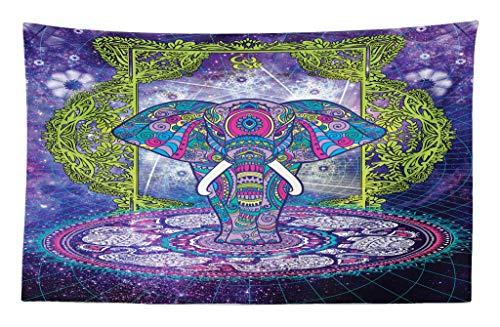ABAKUHAUS Étnico Tapiz de Pared y Cubrecama Suave, Figura Sagrada Elefante de Pie Mandala sobre Espacio Exterior Cosmos Diseño Hippie, Material Resistente, 230 x 140 cm, Púrpura