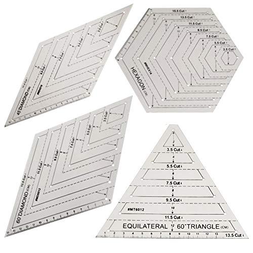 Quilt-Lineal-Set, 4 Stück, durchsichtige Kunststoff-Schablone, Dreieck, 45 Grad, 60 Grad Lineal, Basteln, transparent - Quilt-set