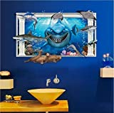 Home Decor Wall Sticker 3D Shark Removable Room Decor Wall Decal for Kids