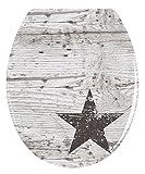 Wenko 22272100 WC-Sitz Star rostfreie Edelstahlbefestigung, Duroplast, mehrfarbig, 45 x 38 x 4 cm