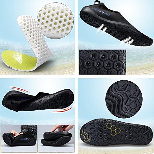 Fexkean Unisex Pelle Scarpe Aqua Flessibile Barefoot Asciugatura di Nuoto Spiaggia Corsa Snorkeling Surf Esercizi di Yoga Uomo Donna nero/verde-B