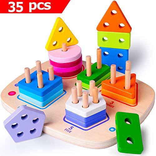 Rolimate Holz Pädagogisches Spielzeug Beste Geburtstag 1 2 3+ Jahre Alt Junge Mädchen Baby Vorschule Montessori Entwicklungsspielzeug Sortier Stapel Steckspielzeug Geometrische Tafel