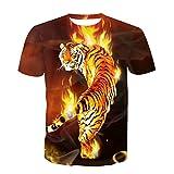 Camiseta De Manga Corta con Cuello Redondo De Moda De Verano En 3D Realista De Starry Sky para Hombre Tigre De Fuego 3XL(Tag,Asian)=EU XL