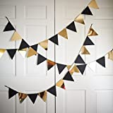 Pop the Party Black and Gold Buntings Flags Banners for Party Decoration(12 Flags)