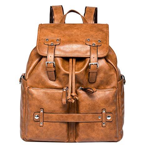 Lisay Herren Vintage Schulrucksack Jungen Lässig Rucksack Einfarbig Leder Reiserucksack Groß Wasserdicht Backpack Leichter Multi-Tasche Schulranzen