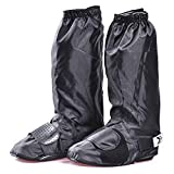 Wasserdichte Beinstulpen, Wasserdichte Regen-Stiefel-Schuh-Abdeckungen für Frauen Männer-Schwarz Antibeleg-wiederverwendbare waschbare Regen-Schnee-Stiefel-Abdeckung mit reflektierendem Streifen-Reise
