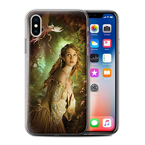 Officiel Elena Dudina Coque / Etui Gel TPU pour Apple iPhone X/10 / Plumes D'arc-en-Ciel Design / Les Oiseaux Collection Carte Postale/Ruban