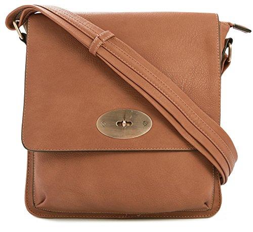 Große Handtasche/Einkaufstasche aus Kunstleder mit Drehverschluss, Umhängetasche, Braun - Tan Medium - Größe: One Size