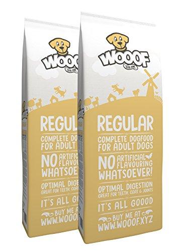 WOOOF Regular 30kg kaltgepresstes Hundefutter mit Rind, natürliche Zutaten, hoher Fleischanteil, leicht verdaulich, ohne Weizengluten, Trockenfutter
