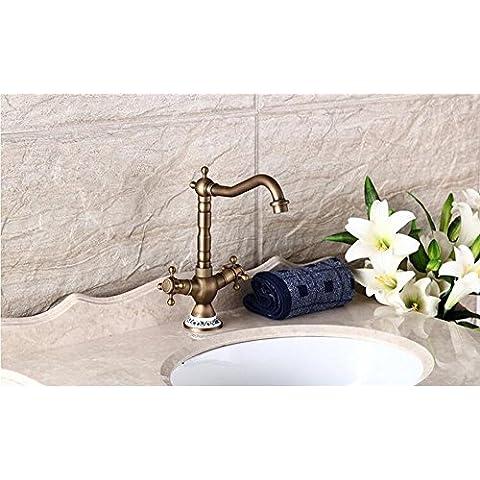 Cobre antiguo lavabo grifo caliente y frío europeo doble empuñadura Grifo lavabo único agujero sat-estilo giratorio azul y blanco grifo mezclador de Cuenca