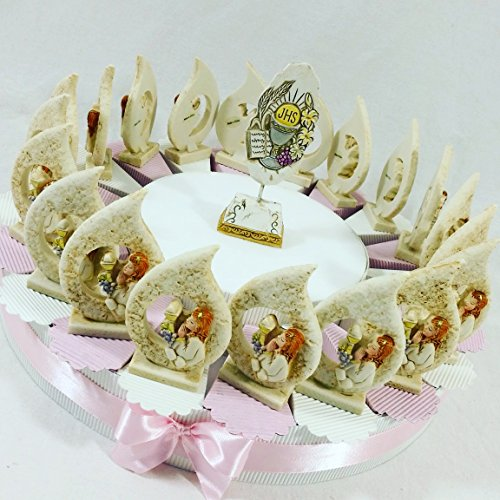 Bomboniere comunione battesimo cresima con torta bomboniera spedizione gratis kkk (torta 20 fette+centrale bambina goccia)