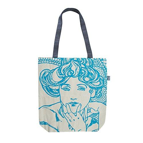 Eleganter Jutebeutel bedruckt mit Alphonse Mucha Gemälden, Baumwolltasche, Stofftasche für Damen