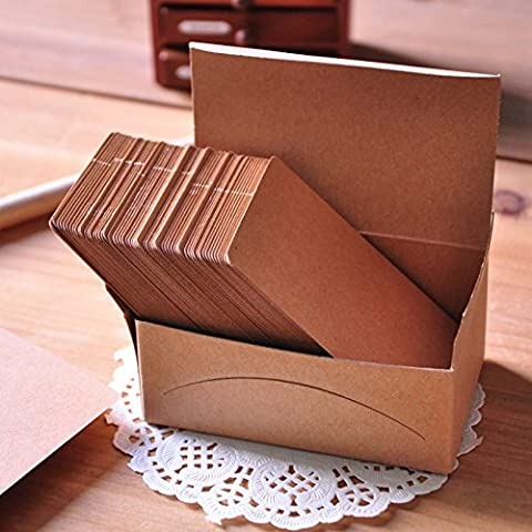 100pcs Blank Brown Business Kraft Card Name Message Note DIY Stamp Label Tag