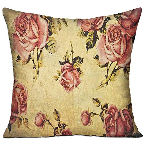 ZMYGH Roses Decorations Old-Fashioned Victorian Style Rose Pattern with Dramatic Color Boho Art Design Cream Pink Green Coffee Shop Decor Throw Pillow Cover 18