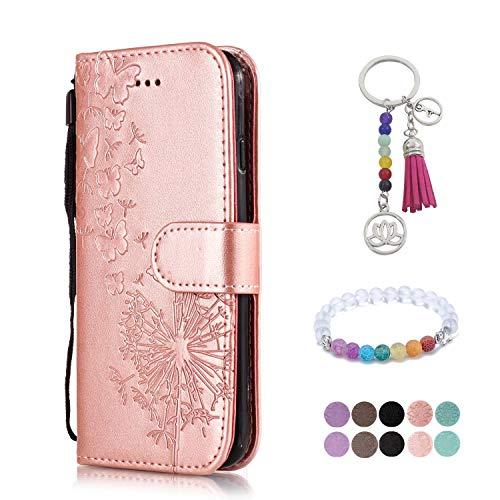 LA-Otter kompatibel für Samsung Galaxy S5 Hülle Leder Rosegold Löwenzahn Handyhüllen Lederhülle Schutzhülle Flip Case Klapphülle (Samsung Case Otter Für Galaxy S5)