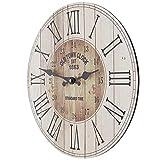 SIDCO Wanduhr Holz Küchenuhr Western Country Style Deko Wohnzimmer Uhr Shabby Design