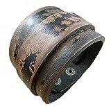 Mulba Punky Retro de Cuero para Hombre Brazalete Sl2656 (Brown)