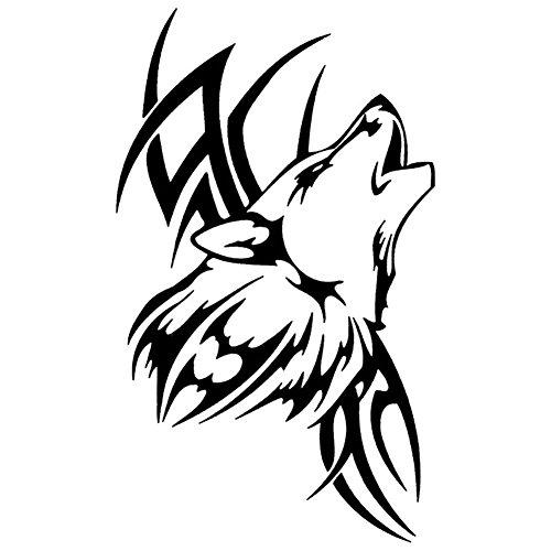 CricTeQleap Wasserdichte Tattoo Wolf Auto Styling Aufkleber Fahrzeug Motorrad K?RPER Aufkleber Dekor - Schwarz